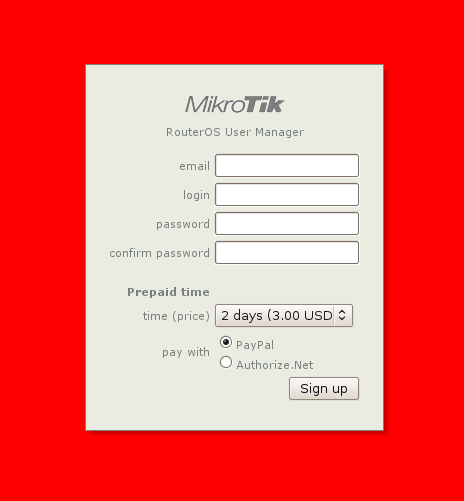 sign-up form customization: red background