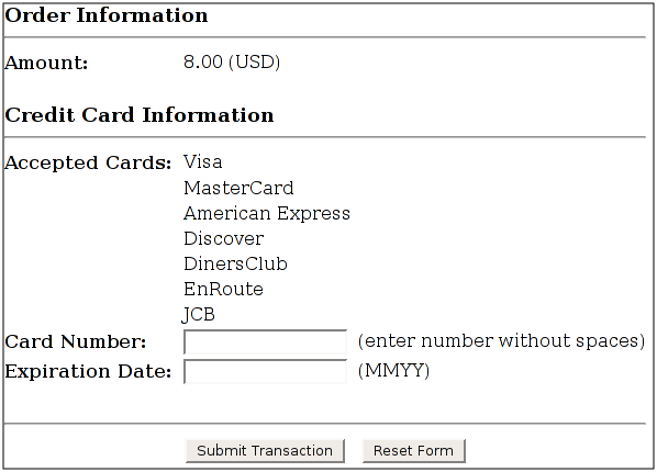Authorize.Net Payment form